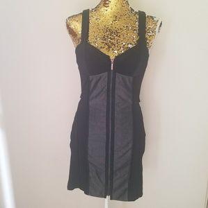 Bebe Grey & Black Zippered Dress